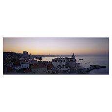 High angle view of a town, Cascais, Lisbon, Portug Poster