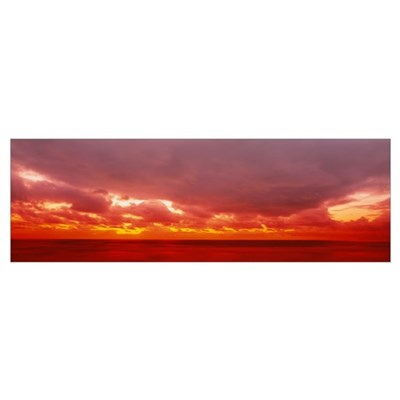 Pacific ocean overcast by storm clouds Poster