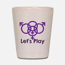 """Swinger Symbol """"Let's Play"""" Shot Glass"""