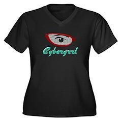 Cybergrrl Women's Plus Size V-Neck Dark T-Shirt