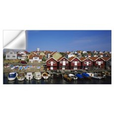 Boats moored at the dock, Smogen, Sotenas Municipa Wall Decal