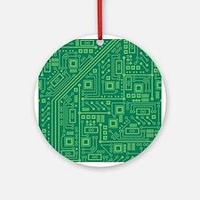 Green Circuit Board Ornament (Round)