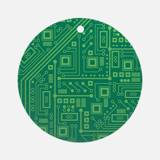 Green Circuit Board Ornament (Round)