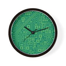 Green Circuit Board Wall Clock
