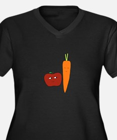 Apple-Carrot Duo Women's Plus Size V-Neck Dark T-S