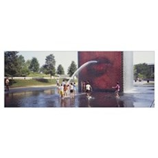 Group of children playing in water, Crown Fountain Framed Print