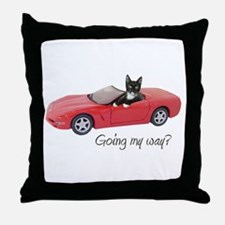 Cat in Red Car Throw Pillow