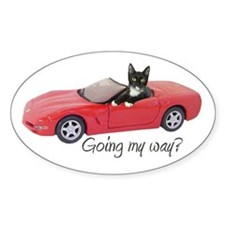 Cat in Red Car Decal
