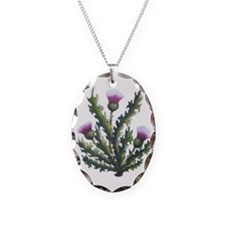 scottish thistle Necklace Oval Charm