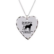 Boston Terrier Mommy Necklace Heart Charm