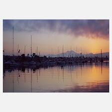 Boats at a harbor, Newport Beach Harbor, Newport B