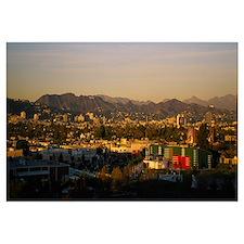 High angle view of a city, San Gabriel Mountains,