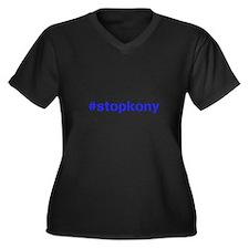#stopkony blue Women's Plus Size V-Neck Dark T-Shi