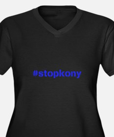 #stopkony blue Women's Plus Size V-Neck Dark T-Shi