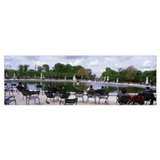People around a pond in a park, Jardin De Tuilerie Framed Print