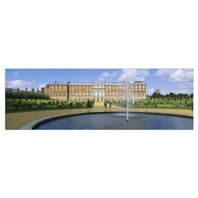 Fountain in front of a palace, Hampton Court, Lond Canvas Art