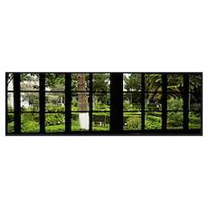 Formal garden viewed through a window, Hosteria La Poster