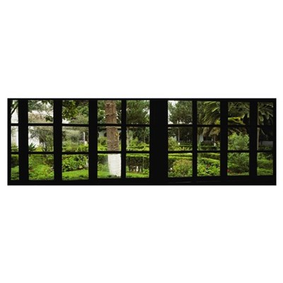 Formal garden viewed through a window, Hosteria La Canvas Art