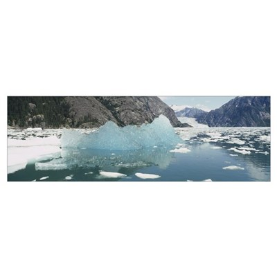 Icebergs floating in a lake, LeConte Glacier, Alas Poster