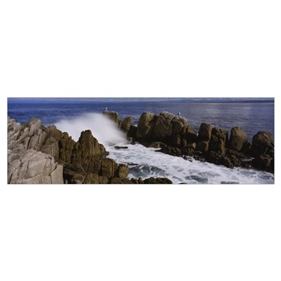 Rock formations in water, Pebble Beach, California Poster