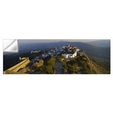 High angle view of village on top of a hill, Marva Wall Decal
