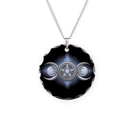 Moonstone Triple Goddess Necklace Circle Charm
