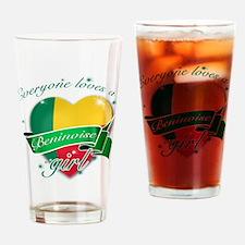 I heart Beninoise Designs Drinking Glass