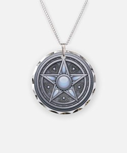Silver Moonstone Pentacle Necklace Circle Charm