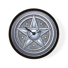Silver Moonstone Pentacle Wall Clock