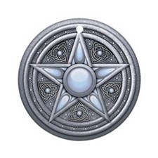 Silver Moonstone Pentacle Ornament (Round)