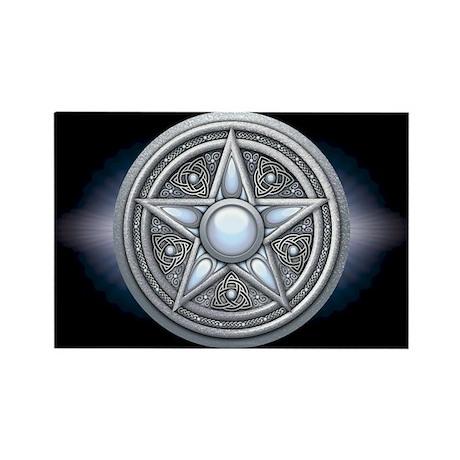 Silver Moonstone Pentacle Rectangle Magnet (100 pa