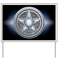 Silver Moonstone Pentacle Yard Sign