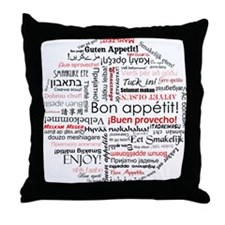 Bon appetit in different lang Throw Pillow