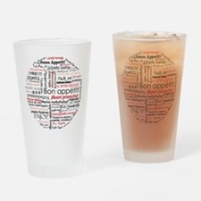 Bon appetit in different lang Drinking Glass