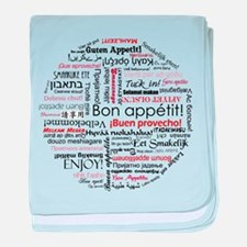 Bon appetit in different lang baby blanket