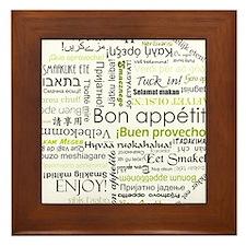 Bon appetit in other language Framed Tile