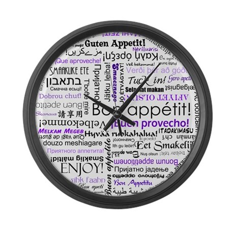 World Foods Dining Etiquette Large Wall Clock