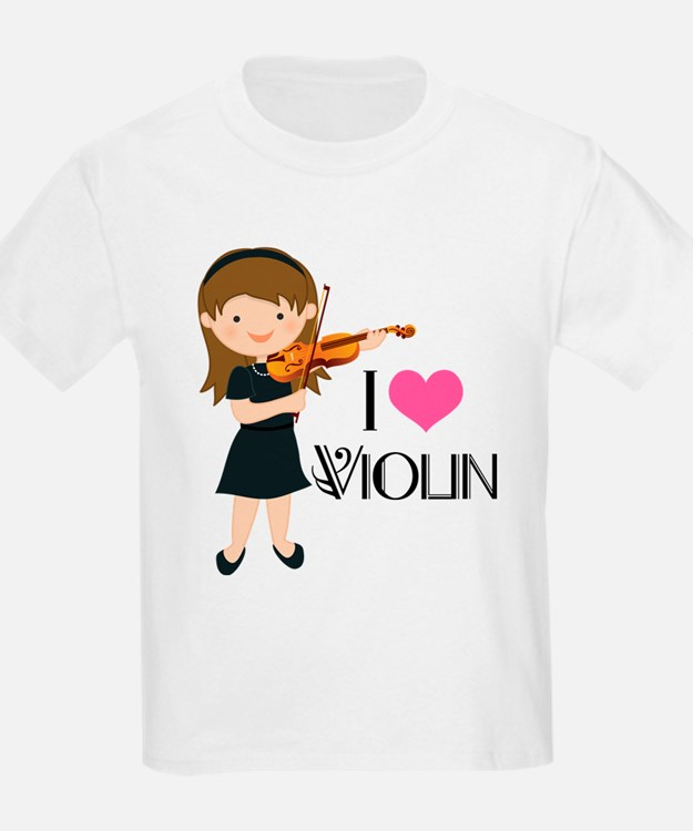 I Heart Violin Girls T-Shirt