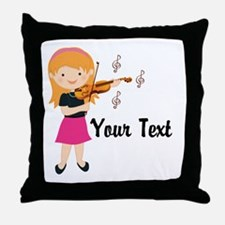 Personalized Violin Girl Throw Pillow