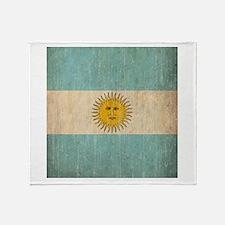 Vintage Argentina Flag Throw Blanket