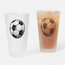 Soccer Ball Distressed Drinking Glass