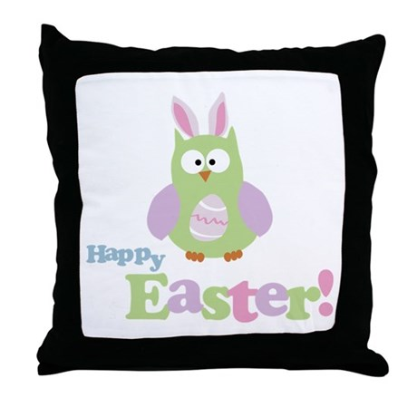 Happy Easter Owl Throw Pillow