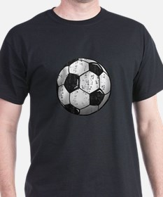 Soccer Ball Distressed Black T-Shirt