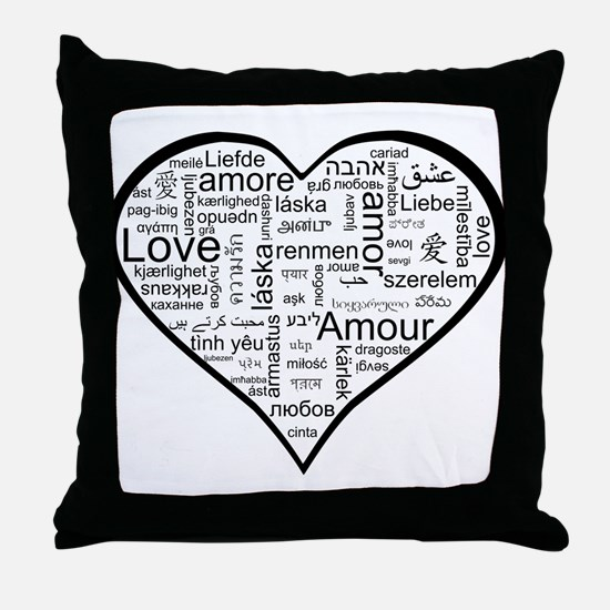 Love in many languages Throw Pillow