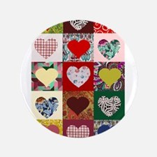 "Heart Quilt Pattern 3.5"" Button"