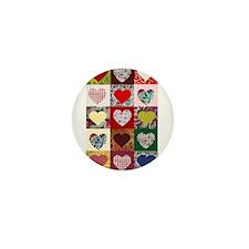 Heart Quilt Pattern Mini Button