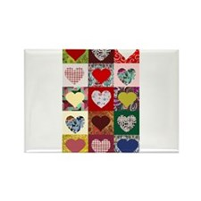 Heart Quilt Pattern Rectangle Magnet