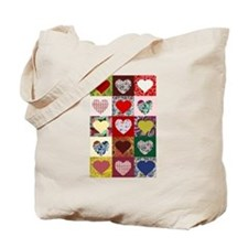 Heart Quilt Pattern Tote Bag