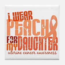 I Wear Peach 6.4 Uterine Cancer Tile Coaster