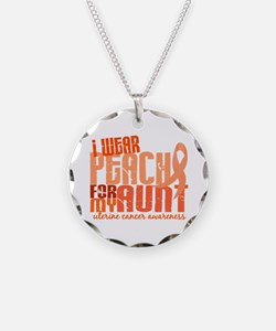 I Wear Peach 6.4 Uterine Cancer Necklace Circle Ch